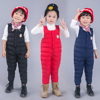 Children Winter Overalls Kids Down Overalls Boys and Girls Windproof Warm Down Jacket Overalls Winter Children's Pants Overalls