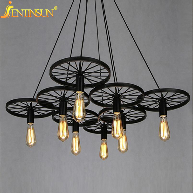 Loft Creative Metal Wheel Pendant Light Retro Restaurant Bar American Country Wrought Iron Hanging Lamps Back or Rust Color bask back country light