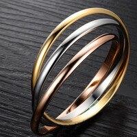 Известный бренд триколор Трициклические леди браслеты Bijoux 316L Titanium стали повседневные роскошные женские браслеты Pulseira Masculina