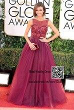 Giuliana Depandi Celebrity Kleider Illusion Scoop Neck Sleeveles Appliques Friesen Bodenlangen Ballkleid Lila Abendkleider