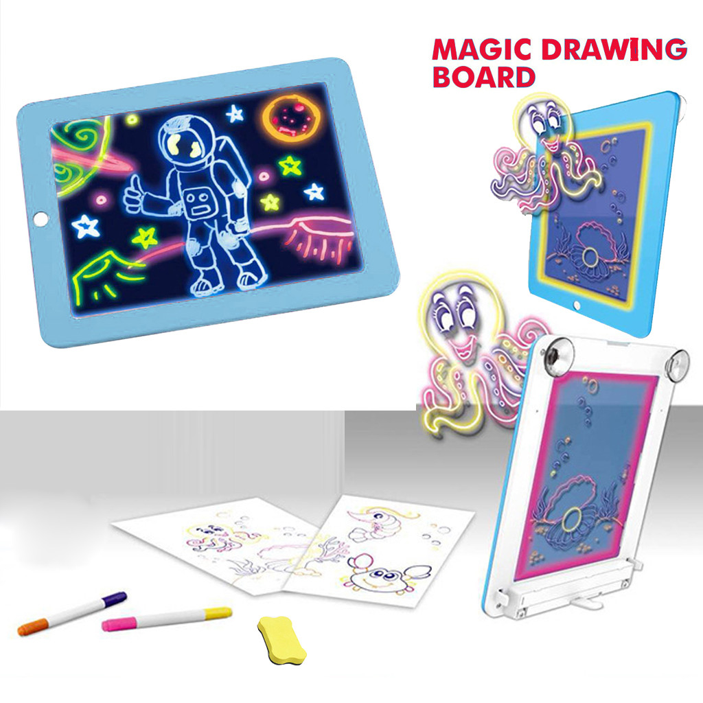 3D LED Writing Board For Kids Plastic Magic Pad Creative Art Magic Board With Pen Brush Children Clipboard Educational Set F12253D LED Writing Board For Kids Plastic Magic Pad Creative Art Magic Board With Pen Brush Children Clipboard Educational Set F1225