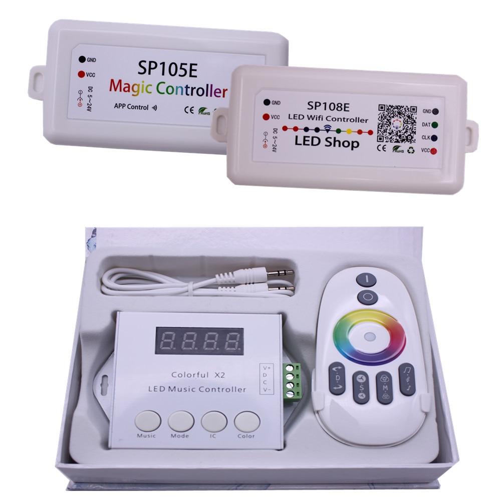 SP105E Bluetooth WS2811 WS2812B ha condotto il regolatore SP108E SK6812 RGB/RGBW APA102 Musica Colorfulx2 WS2801 pixel Ha Condotto La Striscia Led