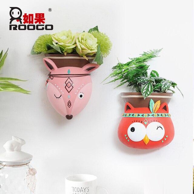 Roogo Wall Mounted Groot Flower Pot Modern Annimal Plant Pot Garden Hanging Pots Home Decor Balcony Decorations Pots Planter