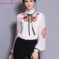 Women flower embroidery ruffled casual work shirt summer lantern sleeve vintage silk cotton blouse white lace up bodysuit top