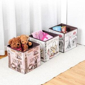 Image 2 - Caja de almacenamiento plegable multifuncional de alta capacidad, banqueta plegable de almacenamiento de película no tejida Retro, taburete de almacenamiento de zapatos creativo para el hogar