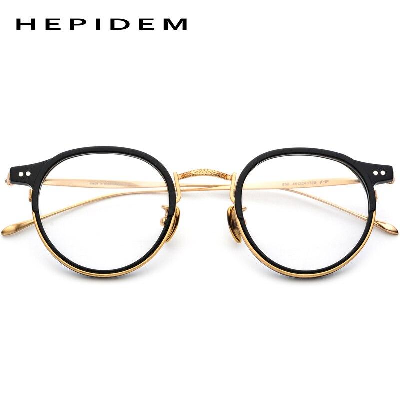 HEPIDEM pur B titane acétate lunettes cadre hommes 2019 nouvelle marque Designer femmes Vintage ronde myopie optique lunettes