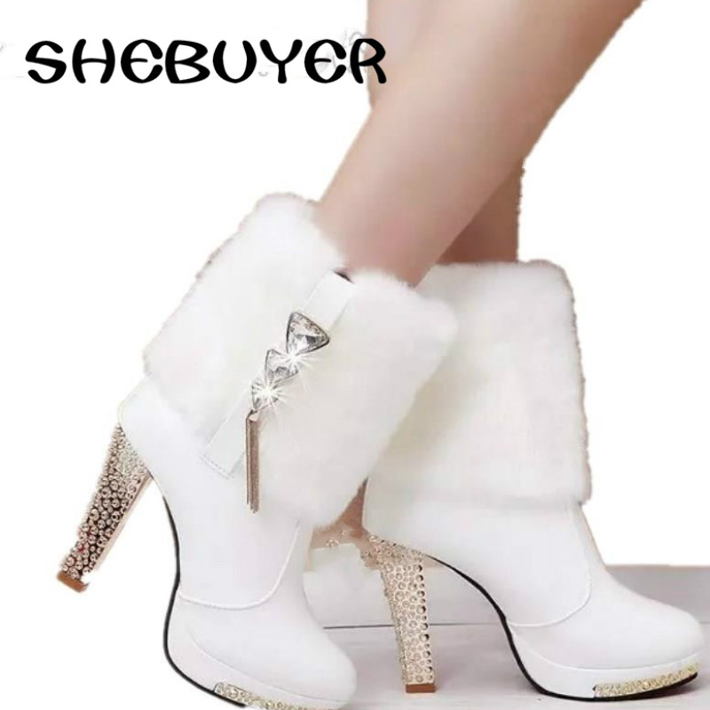 2017 sexy rhinestone elegant women high heels fur ankle boots woman warms short boots shoes. Black Bedroom Furniture Sets. Home Design Ideas