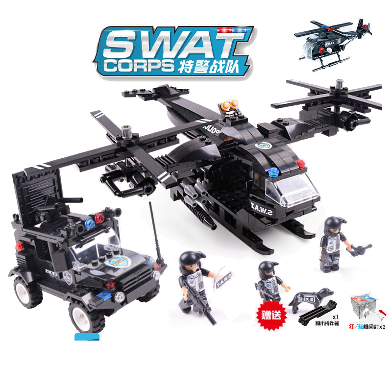 594pcs Children s building blocks toy Compatible city SWAT series Osprey armed aircraft Wrangler military chariot