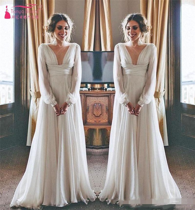 Modest Boho Beach Wedding Dresses 2019 Long Sleeves V Neck ...