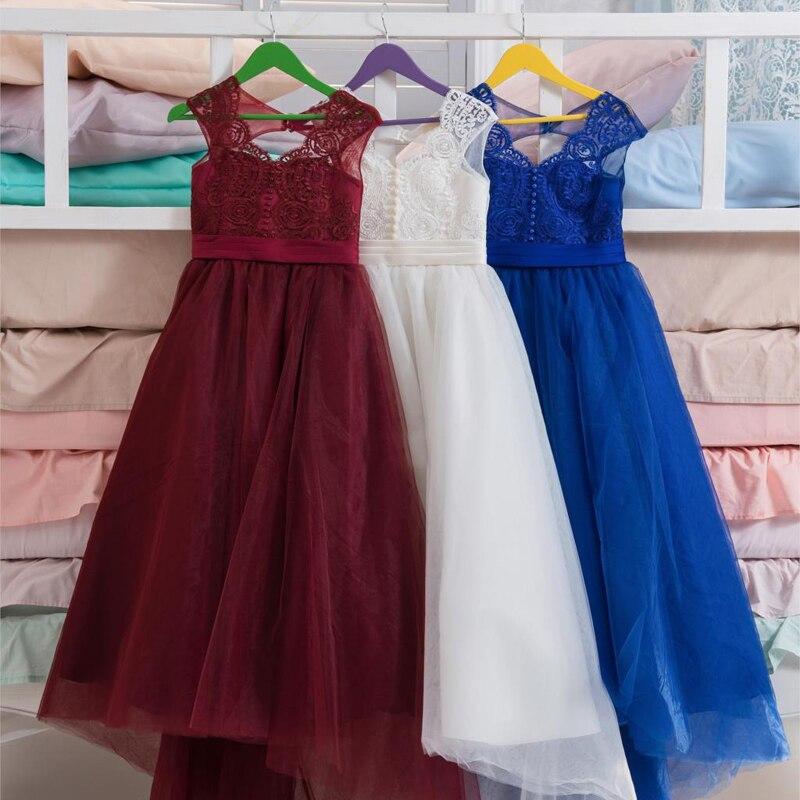 8aa343a2856 2017 Bleu Royal Fleur Fille Robes pour Mariages V cou Balle robe Dentelle  Tulle Petite Fille Pageant Robe Parti Robe Robes Longo dans Robes de Mère  et ...