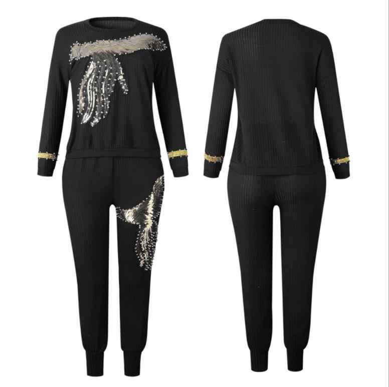 2019 冬春長袖トラックスーツスポーツウェアオフィスフェニックススパンコールトレーナー + パンツ 2 個の女性のセット衣装スーツ AM306