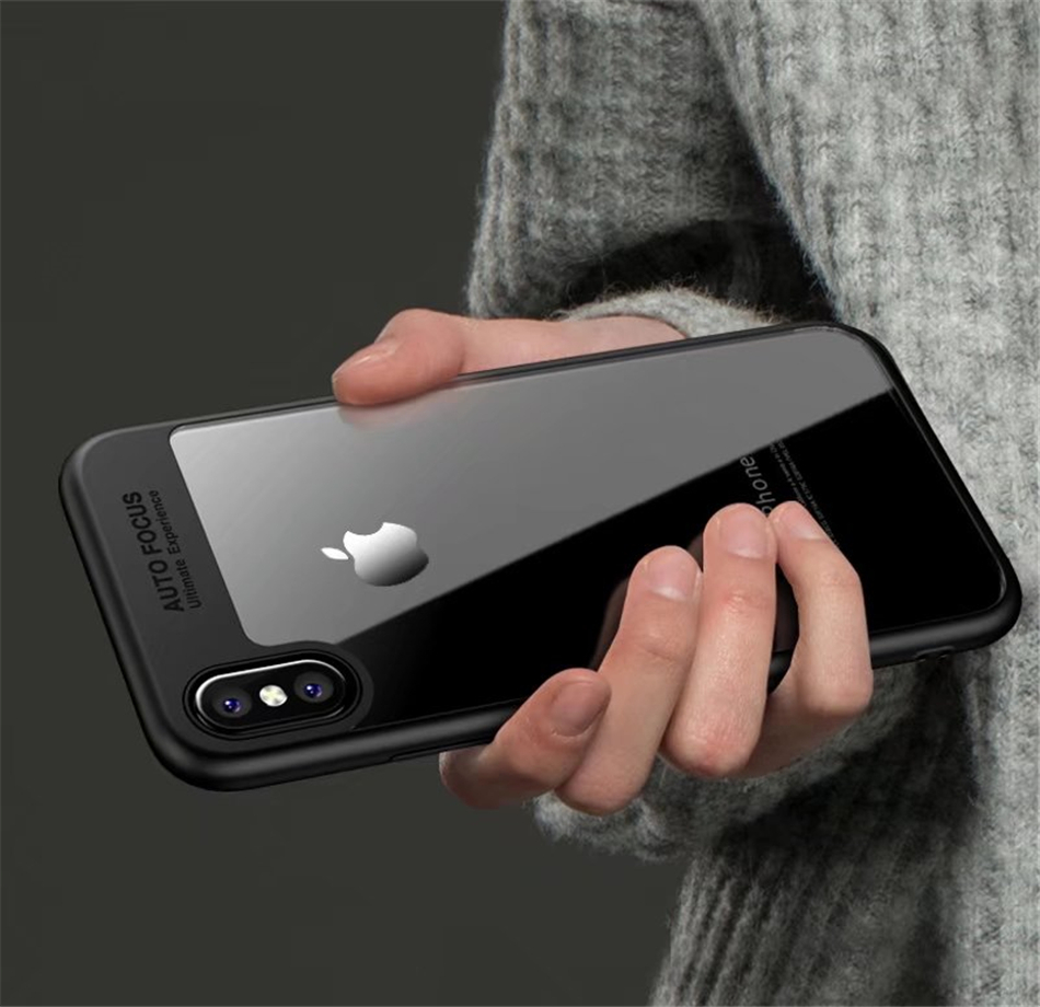 free shipping 78120 6ec21 Auto Focus Case For iPhone X XR XS MAX Case Transparent Mobile Phone Back  Covers