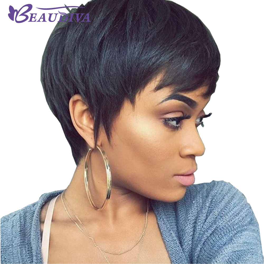 Beaudiva Hair Short Human Hair Wigs With Baby Hair Bang Non Lace Wig Brazilian Bob Straight Wig For Women Natural Color