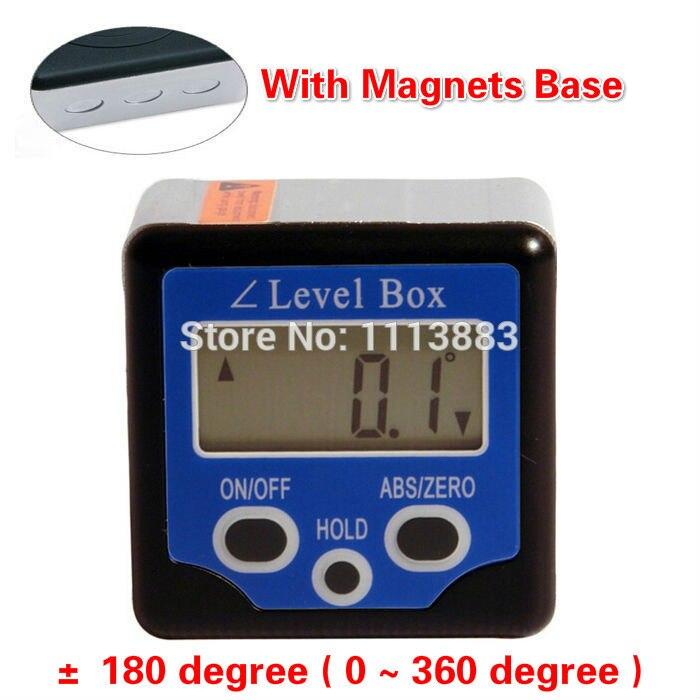 360 degrés aimants Base inclinomètre numérique jauge d'angle mètre niveau à bulle boîte à biseau horizontale outil de mesure