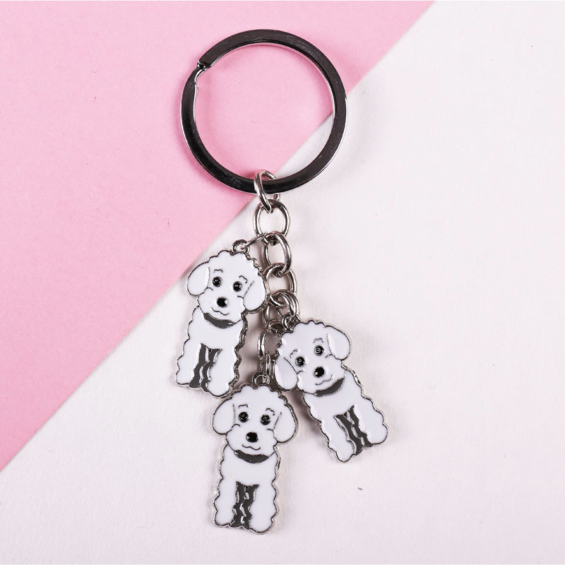 3 цвета пуделя Ключи цепи Teddy собака брелок DIY Pet Tag брелки Модные украшения Подвески подарок Best друг Прямая доставка