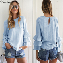 Echoine 2017 Women Blouses Shirt Elegant Ladies O Neck Long Flare Sleeve Flouncing Blusas Casual Loose Pullover Tops Solid color