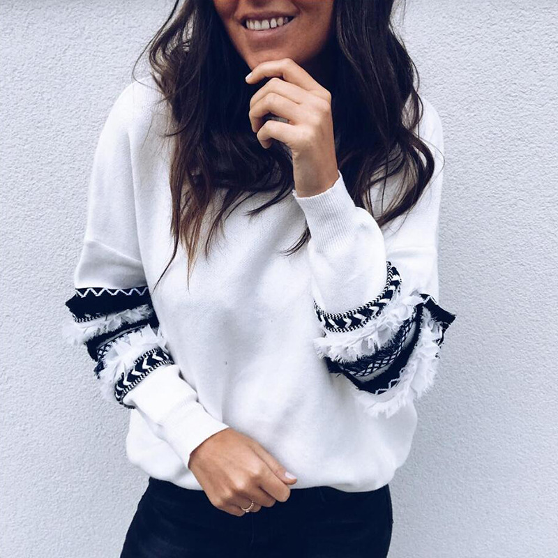 2018 New Fashion Women Hoodies O Neck Long Sleeve Sweatshirts Stringy Selvedge Patchwork Pullover Women Tops Femme Casual Hoody