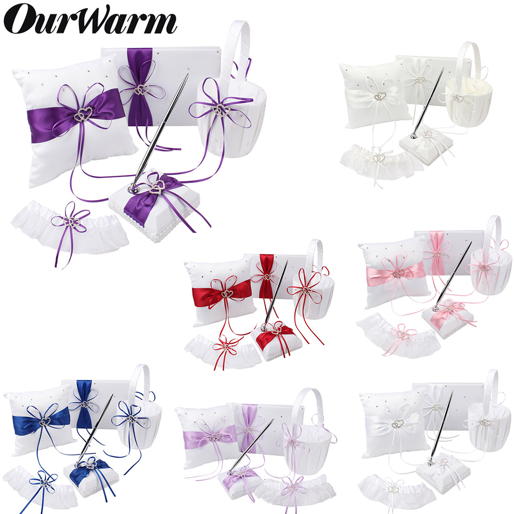 5Pcs set Wedding Decoration Accessories Satin Wedding Ring Pillow Flower Basket Guest Book Pen Set Garter
