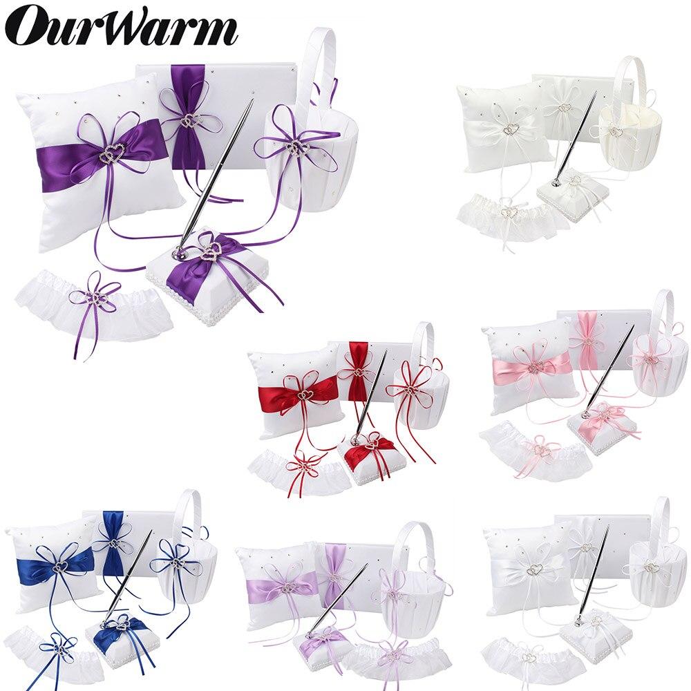 5 pièces/ensemble accessoires de décoration de mariage Satin anneau de mariage oreiller + panier de fleurs + livre d'or + ensemble de stylo + jarretière