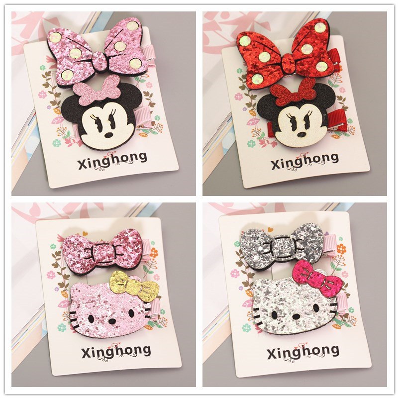 Cute Hello Kitty Minnie Mouse Ears Hairpins Baby Girls Kids Hair Clips Bows Accessories For Children Barrette Hairclip Headwear 40pcs lot 30 colors 4inch hair bows kids girls hair clips boutique bows hairpins for kids children kids girl hair accessories