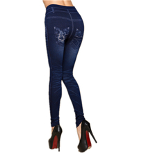 Jean Leggings Cotton Print Hole Seamless Loving Jeans Spandex Mid Waist Push Up Hip Slim Straight