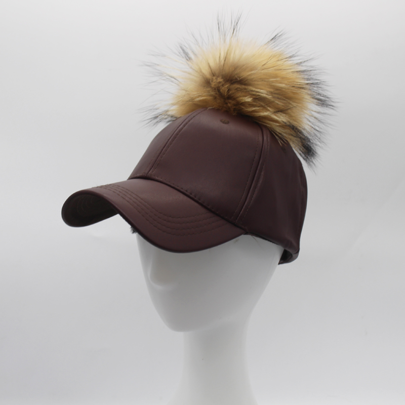 8e5471c591d FURANDOWN Winter Leather PU Baseball Cap With Fur Pom poms For Men Women  Hip Hop Fur Ball Snapback Caps