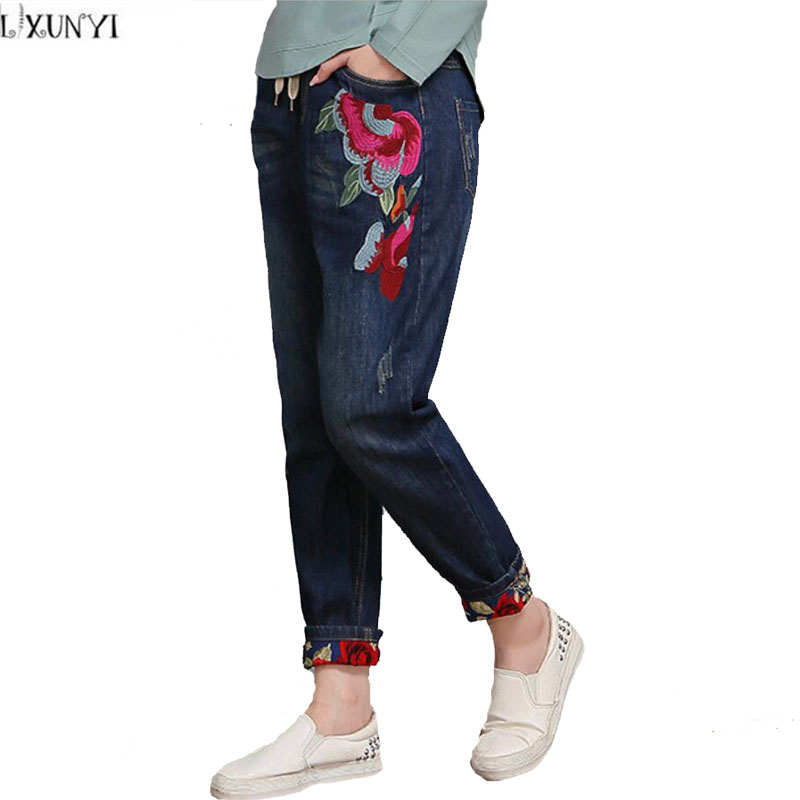 New Arrival jeans Woman Spring Vintage Womens jeans With Embroidery High Waist Plus Size Loose Denim Pants Women Ankle Length female boyfriends vintage mom jeans woman rivets high waist jeans women plus size loose jeans womens pants denim womens quality