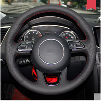 High Quality Car Styling DIY Special Hand Stitched Black Genuine Leather Steering Wheel Cover For Audi