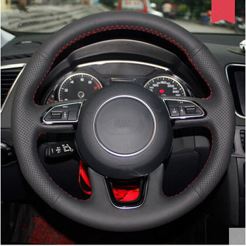 High quality car styling DIY Special Hand-stitched Black Genuine Leather Steering Wheel Cover For Audi Q5 Q3 2013+