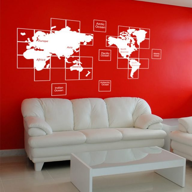 World Map Wall Stickers Large New Design Art Pattern Map Wall