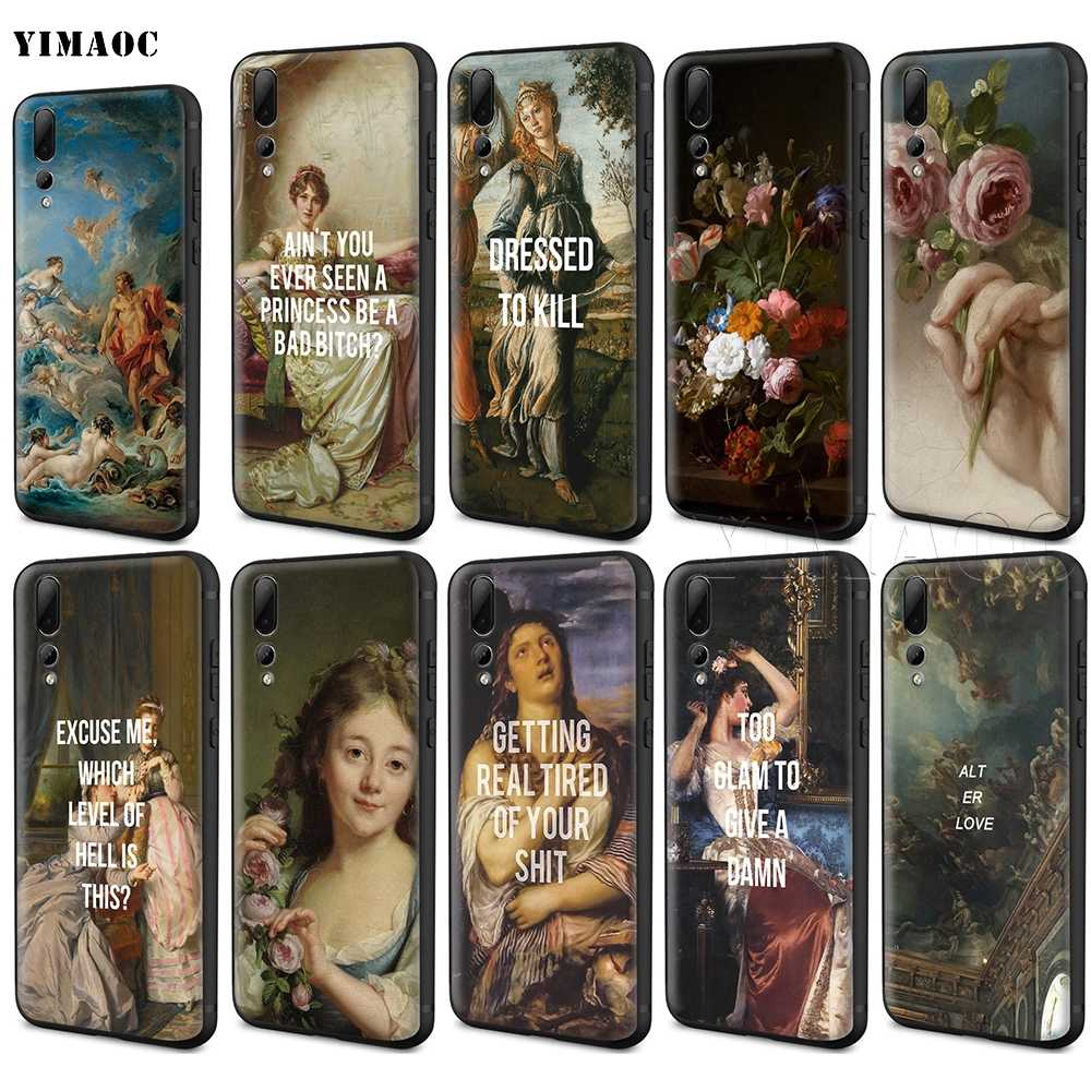 YIMAOC Classic Painting Flower Aesthetic Case for Huawei Mate 20 Honor 6a 7a 7c 7x 8c 8x 9 10 Nova 3i 3 Lite Pro Y6 P30 P smart