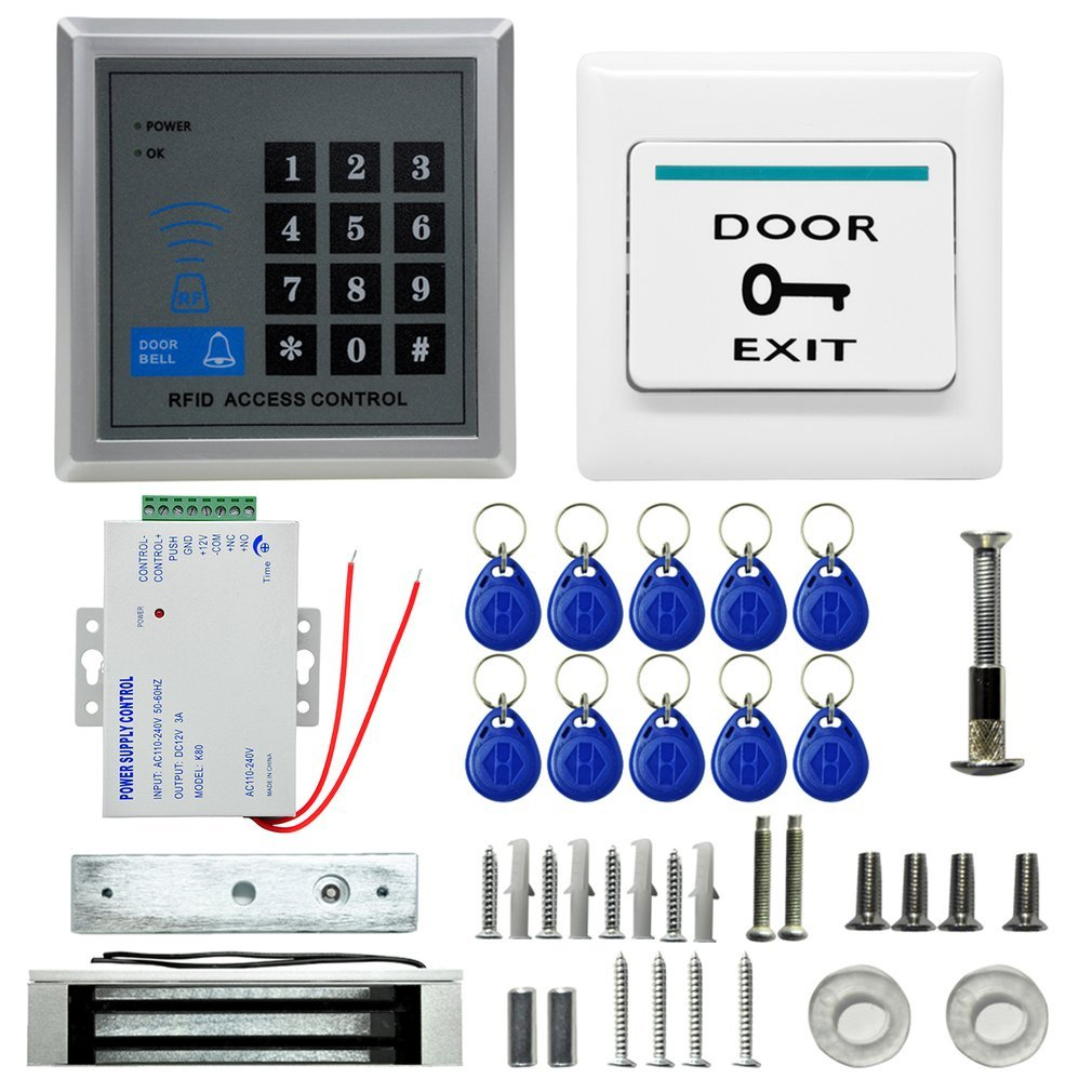 Home Buildings Office Door Lock Magnetic Modern Access Control Kits System ID Card Password RFID Proximity Door Entry Keypad