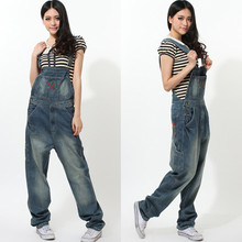 Free Shipping 2016 Fashion Loose Plus Size Jumpsuits And Rompers For Tall Women Casual Denim Bib Pants Spaghetti Strap Trousers
