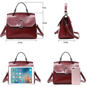 Image 4 - ESUFEIR Brand Genuine Leather Women Shoulder Bag Real Cow Leather Handbag Famous Design Crossbody Bag Casual Tote Top handle Bag