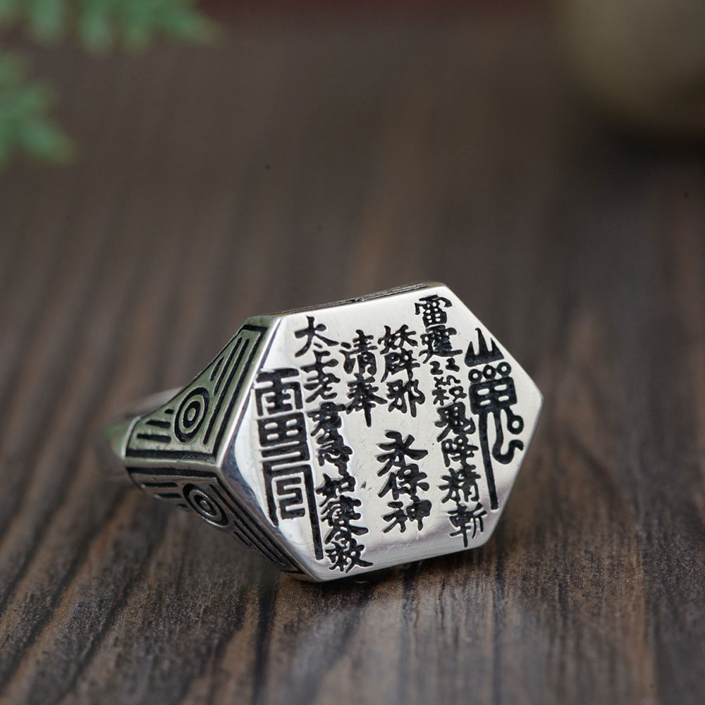 FNJ 925 Silver Buddha Ring Good Luck Gossip Fashion Real S925 Sterling Thai Silver Rings for Women Men Jewelry Adjustable Size