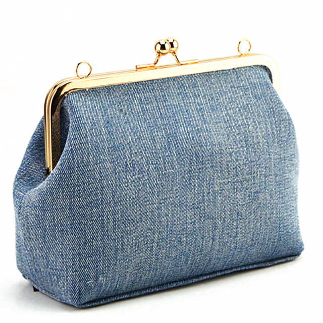Women messenger bags brand fashion 2016 new Korean fashion light denim bag soft chain Frame wallet shoulder bag casual handbag