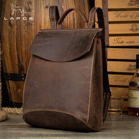 LAPOE Real Genuine Leather Man Women Backpack Crazy Horse Cowhide School Strap Laptop Daily Backpack Top