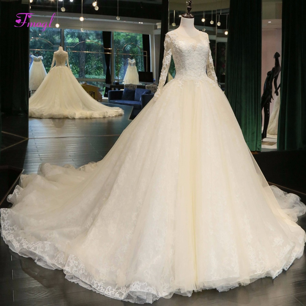 Fmogl Vintage Long Sleeve Pearls Ball Gown Wedding Dresses 2018 Appliques Chapel Train L ...