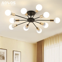 Multiple Rod Wrought Iron Ceiling Light Retro Industrial Loft Nordic Dome Lamp For Home Decor Dinning