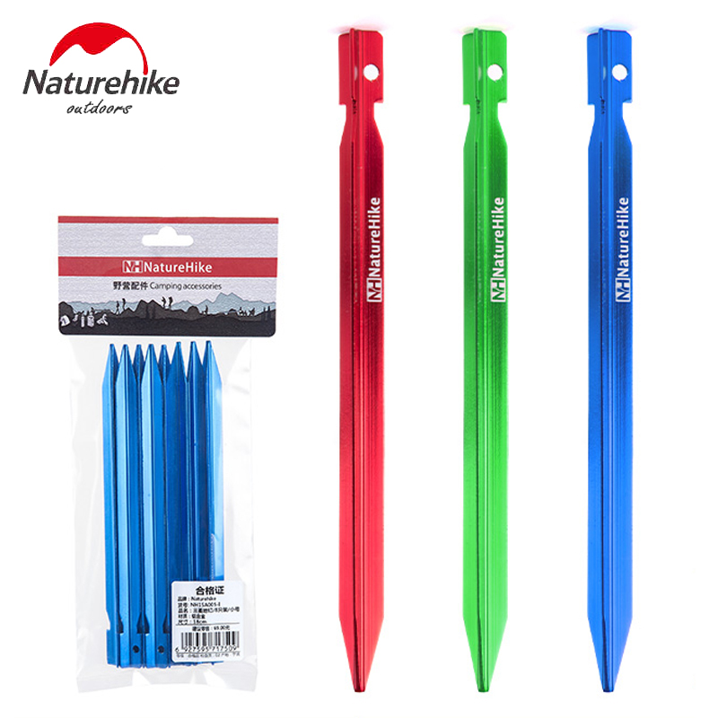 NatureHike Tent Peg 8 pcs/Lot 7001 Aluminium Alloy Tent Nail Tent Stake Fit Outdoor Beach(China)