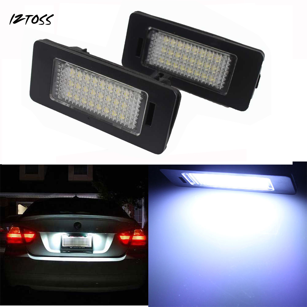 IZTOSS 2x High Power Error Free 24 SMD LED License Plate Light Lamp For VW Golf Touran sagitar Jetta Audi A6 2 pcs led license plate light no error 3528 smd lamp for audi a3 s3 a4 s4 b6 a6 c6 a8 s8 rs4 rs6