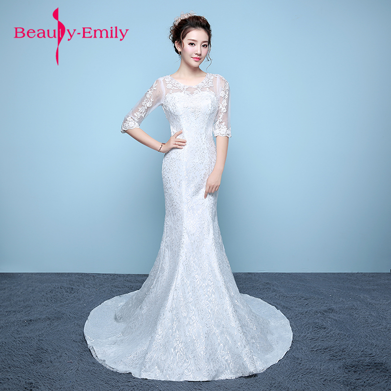 Beauty Emily New Bridal Dresses lace wedding gowns concise body slim bride White Mermaid Wedding Dresses 2018