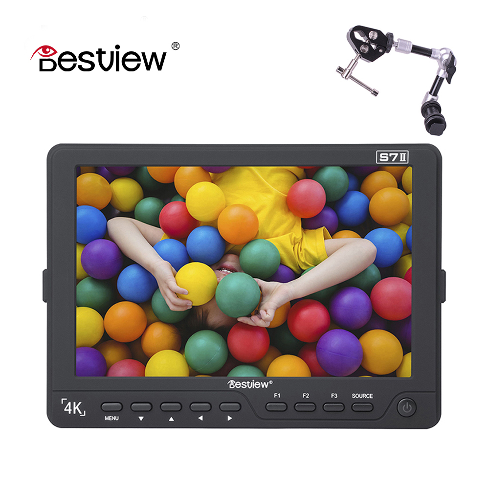 BESTVIEW Hot Selling SDI in/out S7II 4K 7 inch 1920*1200 TFT field camera External display HDMI SDI HD monitor DSLR monitor new aputure vs 5 7 inch 1920 1200 hd sdi hdmi pro camera field monitor with rgb waveform vectorscope histogram zebra false color