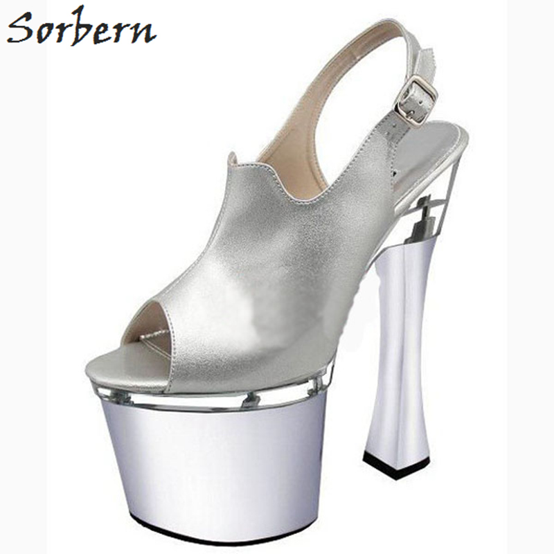 Sorbern Silver Peep Toe Slingbacks Shoes Woman High Heel Thick Platform Women Pumps Ladies Pumps Plus Size Fetish High Heels sorbern high heels pumps womens shoes platform autumn women shoes plus size ladies party shoes 2017 new arrive peep toe zipper