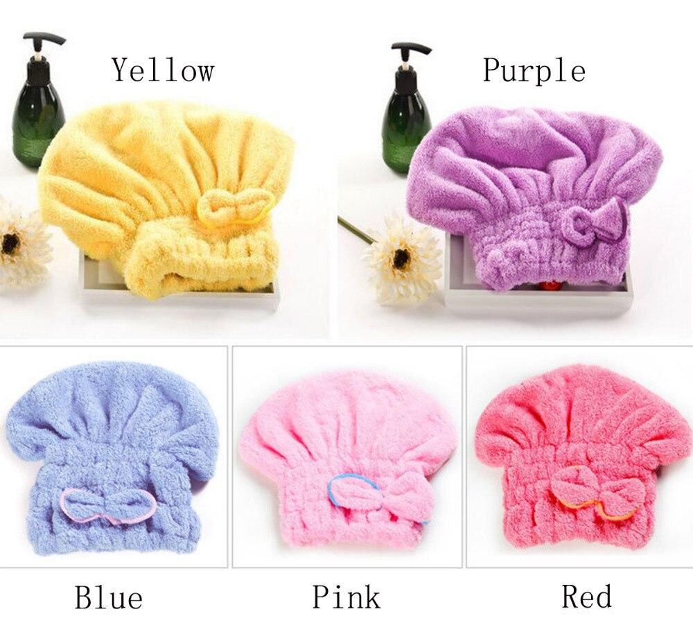 a487e3d6c9 Nova 5 Cor Touca de Banho Colorido Envolto Toalhas Superfine Microfibra  Banho Chapéus Sólida Rapidamente Seco Cabelo Chapéu Acessórios de Banho em  Hair ...