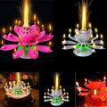 Popular Rotating Happy Birthday Party Candle Light Magical Lotus Music Candle 1X