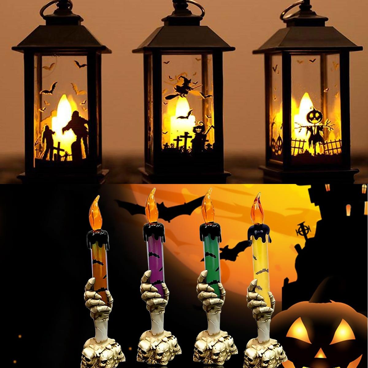 HR 2019 Halloween Vintage Pumpkin Castle Light Lamp Party Decoration Decor Black