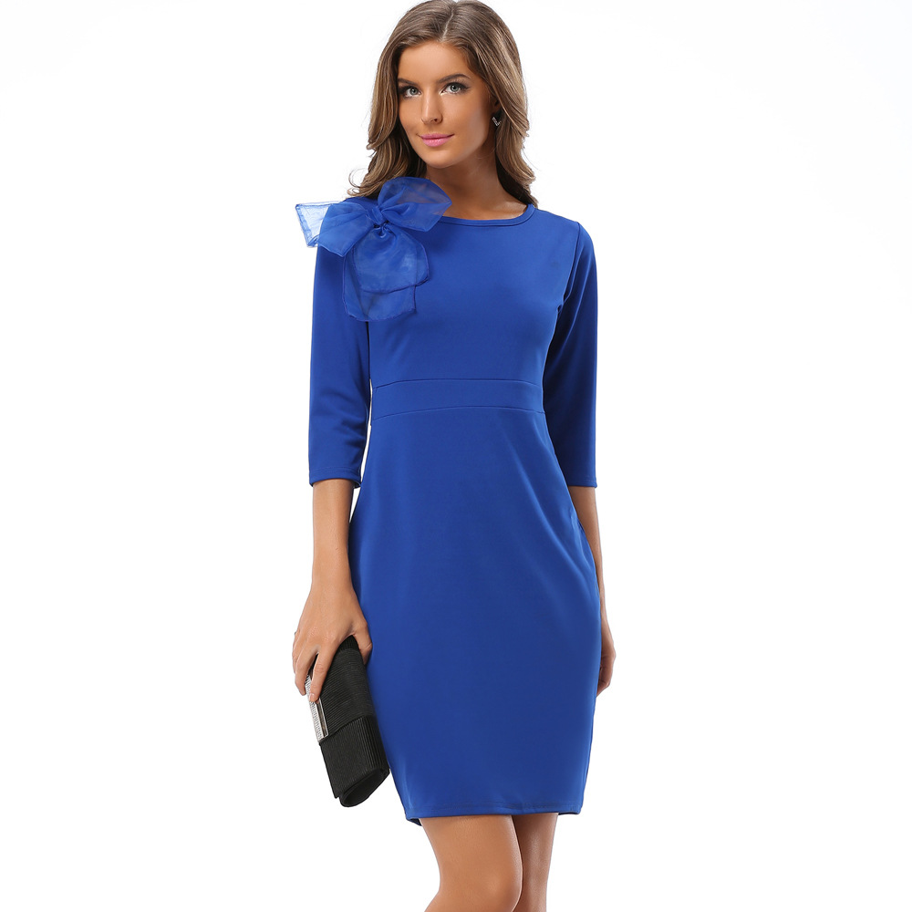 Autumn Winter Women 39 s Brand New Bow Seven minute Sleeves Round necked Polyester Filament Slim Pencil Bodycon Dress Plus Size in Dresses from Women 39 s Clothing