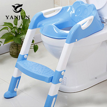 YANJUN  Baby  Toilet Seat Folding Potty Toilet Trainer Seat Chair Step with Adjustable Ladder infant Potty Children YJ-2081 cartoon baby boy girls folding toddler potty toilet trainer saf
