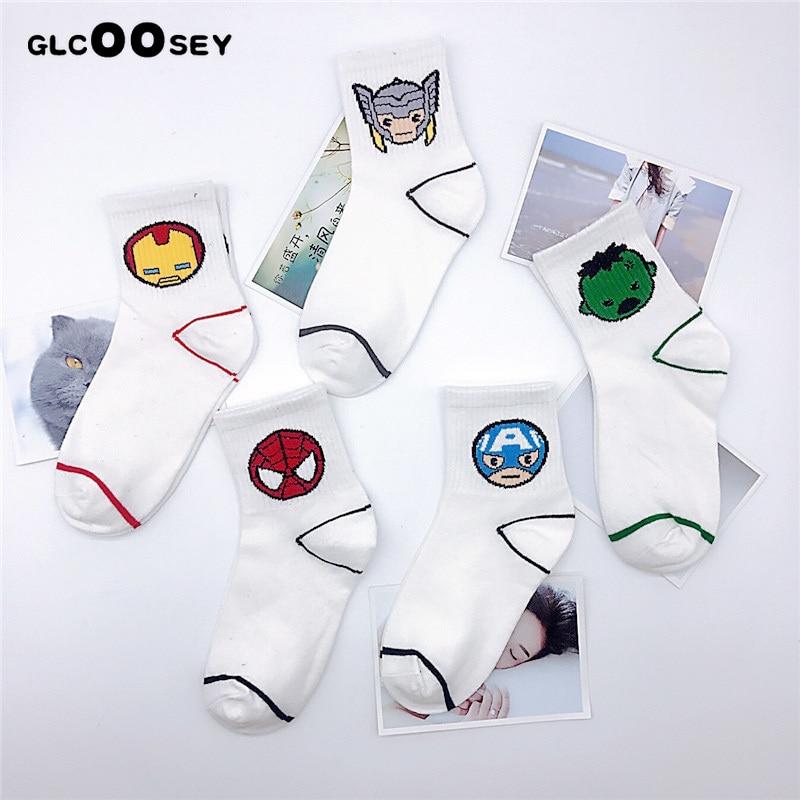 Underwear & Sleepwears 2 Pairs Men Socks Cotton Girls Calf Sock Ankle Socks Mc Hero Series Spiderman Joker Superman Batman Wonder Woman Flash As Gifts